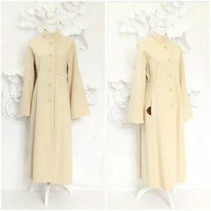 Eileen Fisher Long Wool Duster Coat L Beige